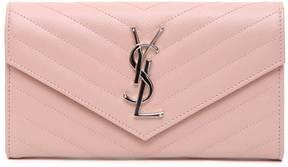 Saint Laurent Monogram Wallet - PALE PINK - STYLE