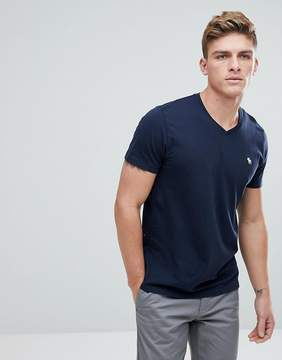 Abercrombie & Fitch Icon Moose Logo V-Neck T-Shirt in Navy