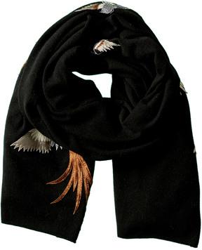 La Fiorentina Black Embroidered Wool Scarf