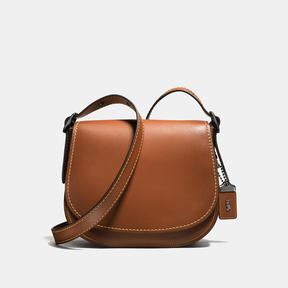COACH SADDLE 23 IN GLOVETANNED LEATHER - f38421 - BLACK/BROWN