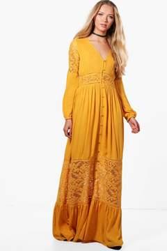 boohoo Paige Lace Insert Western Maxi Dress