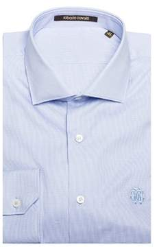 Roberto Cavalli Men's Spread Collar Checkered Cotton Dress Shirt Light Blue.