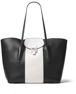 Michael Kors Bancroft Ew Leather Tote - BLACK - STYLE