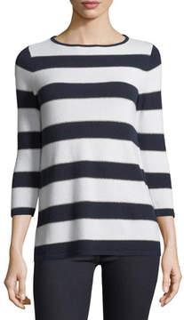 Neiman Marcus Cashmere-Blend Metallic Striped Sweater