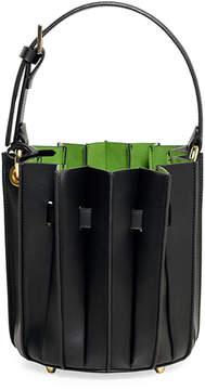 Sara Battaglia Leather Mini Plisse Bucket Bag