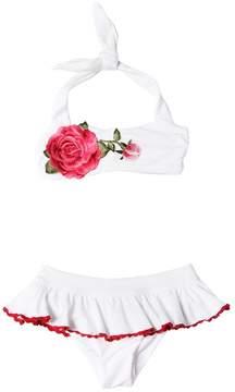 MonnaLisa Doubled Lycra Bikini With Rose Patch