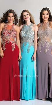 Dave and Johnny Illusion Beaded Applique Evening Dress