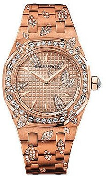 Audemars Piguet Royal Oak Leaves 18kt Pink Gold Diamond Ladies Watch
