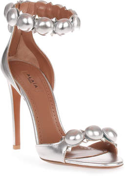 Alaia Metallic leather bomb sandal