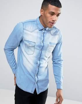 Blend of America Slim Fit Blue Denim Shirt