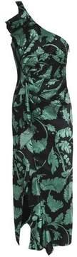 Cinq à Sept One-Shoulder Ruffled Printed Silk-Satin Midi Dress