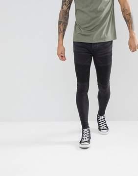 Brave Soul Biker Jeans in Washed Black