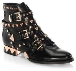 Sophia Webster Riko Flat Leather Biker Booties