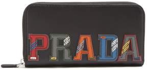 Prada Letter zip-around leather wallet
