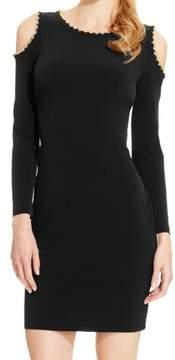 Calvin Klein Women's Chain Trimmed Cold Shoulder Jersey Dress (4, Black)