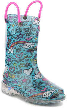 Western Chief Girls Sketchbook Toddler & Youth Light-Up Rain Boot