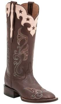 Lucchese Women's Scallop Top Star Leather Western Boot.
