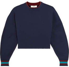 Tibi Cropped Stretch-jersey Sweatshirt - Navy