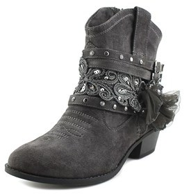 Not Rated Midas Women Round Toe Canvas Gray Ankle Boot.