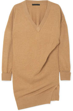 Alexander Wang Oversized Gathered Knitted Mini Dress - Camel