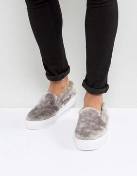 Asos Slip On Sneakers In Faux Fur