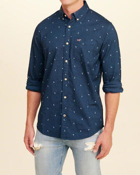 Hollister Stretch Patterned Poplin Shirt