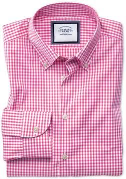Charles Tyrwhitt Slim Fit Button-Down Business Casual Non-Iron Pink Cotton Dress Shirt Single Cuff Size 15.5/33