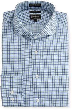 Neiman Marcus Trim-Fit Dobby Check Dress Shirt, Green/Blue