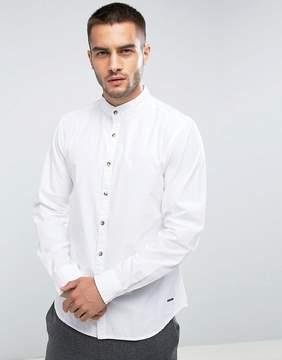 Esprit Shirt in Slim Fit With Grandad Collar