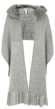 River Island Womens Grey faux fur trim hooded scarf