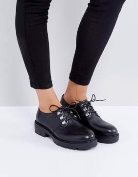 Vagabond Kenova Black Leather Lace Up Flat Shoes