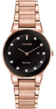 Citizen Axiom Rose Gold/Black Analog Eco-Drive J15 Watch