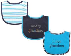 Luvable Friends Blue 'I Love Grandma' Bib - Set of Three