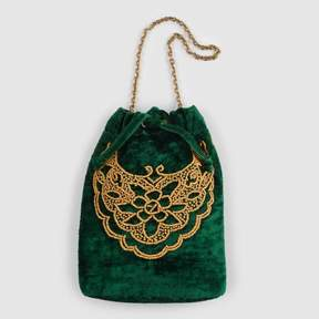 World Market Green Velvet Drawstring Bag