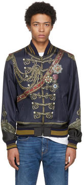 Dolce & Gabbana Navy Knight Bomber Jacket