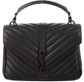 Saint Laurent Monogram College Medium Chain Satchel - BLACK - STYLE