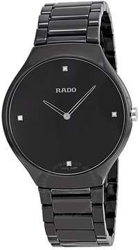 Rado True Thinline Black Dial Black Ceramic Men's Watch