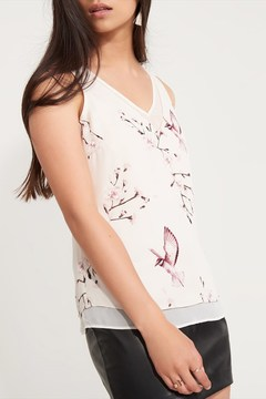 Dynamite Sheer Detailed V-Neck Tank
