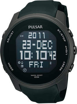 Pulsar Watch, Men's Digital Black Polyurethane Strap 47mm PQ2011
