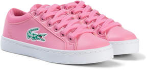 Lacoste Pink and White Straightset Lace Kids Trainers