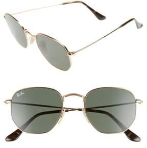 Ray-Ban Women's 51Mm Hexagonal Flat Lens Sunglasses - Metal Gold/ Green