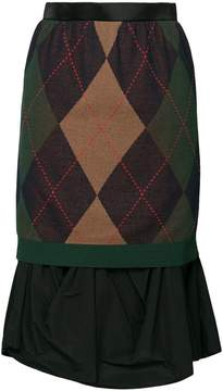 Kolor argyle layer skirt