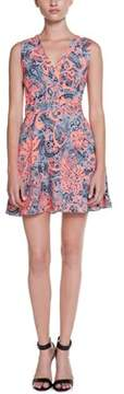 Ark & Co Navy & Neon Orange Print Dress.