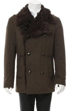 Roberto Cavalli Shearling-Trimmed Double-Breasted Peacoat