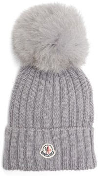 Moncler Women's Genuine Fox Fur Pom Ribbed Wool Beanie - Grey