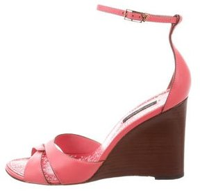 Louis Vuitton Leather Ankle-Strap Wedges