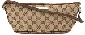 Gucci Brown Leather GG Monogram Canvas Tote Bag - BROWN - STYLE