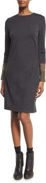 Brunello Cucinelli Wool Jersey Dress with Organza Cuffs, Smoke