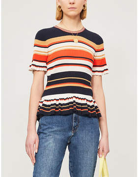 Sandro Striped frilled cotton-blend knit top- Terracotta
