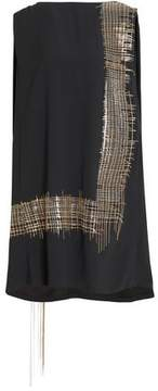 Chalayan Cape-Back Chain-Embellished Crepe Dress